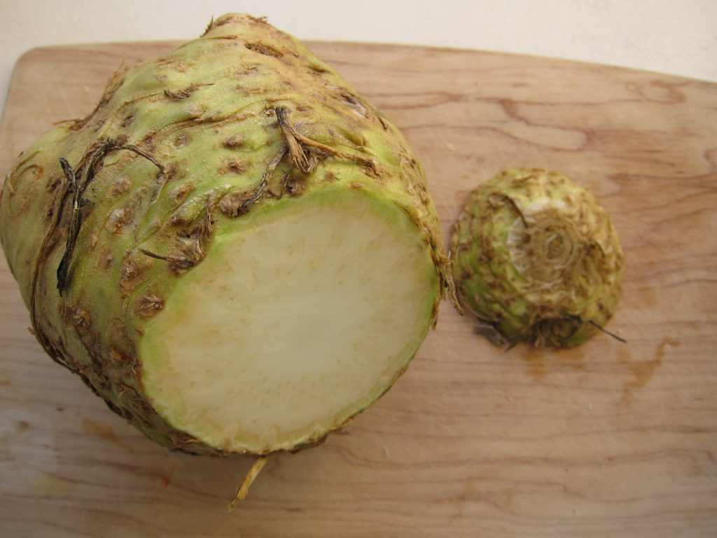 Celery root (or celeriac) has a fantastic, subtle flavor, is easy to prepare, and has a very long shelf life.
