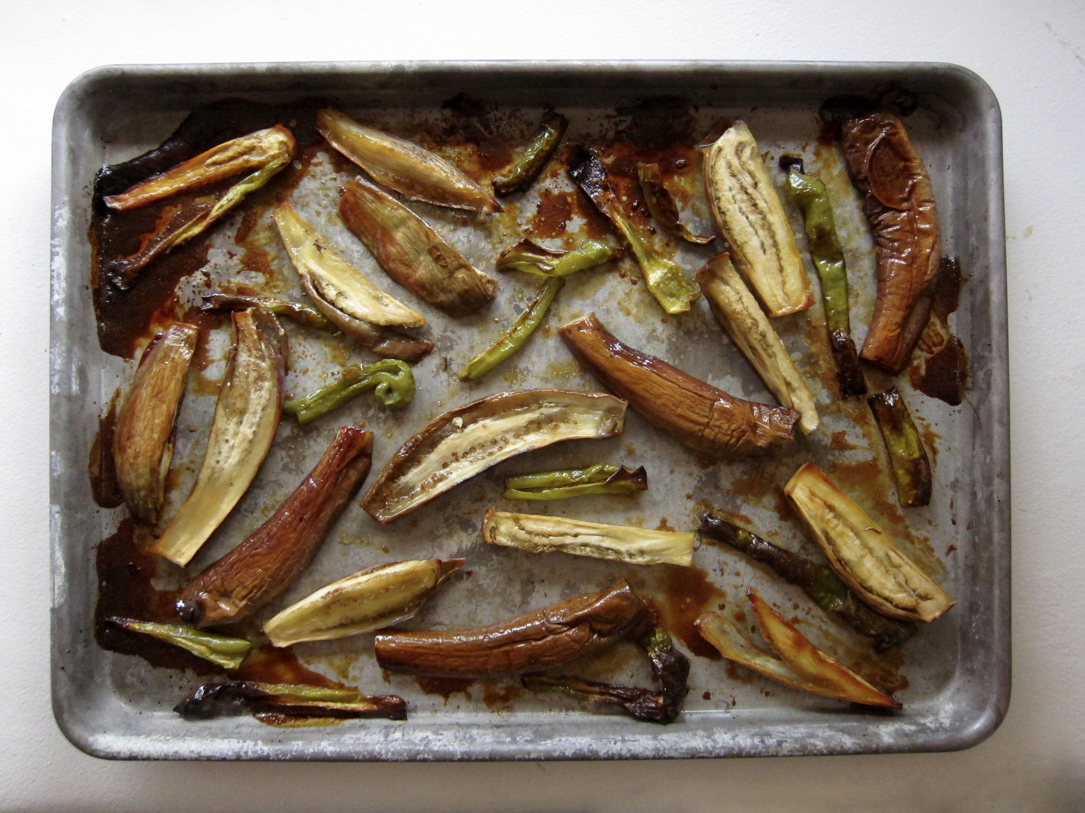 Eggplant roasted with green chile and honey is best when the eggplant is locally grown.