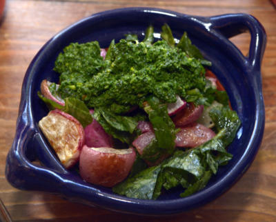 Caramelized radishes and their greens. (Greg Sorber/Albuquerque Journal)